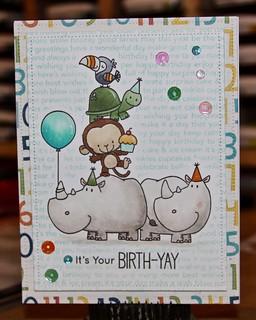 MFT Happy Birthday BG, Birth-Yay, Lawn Fawn Dotted Rectangles