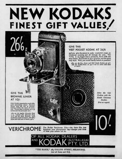 1931 advertisement for Vest Pocket Kodak and Kodak Brownie Junior