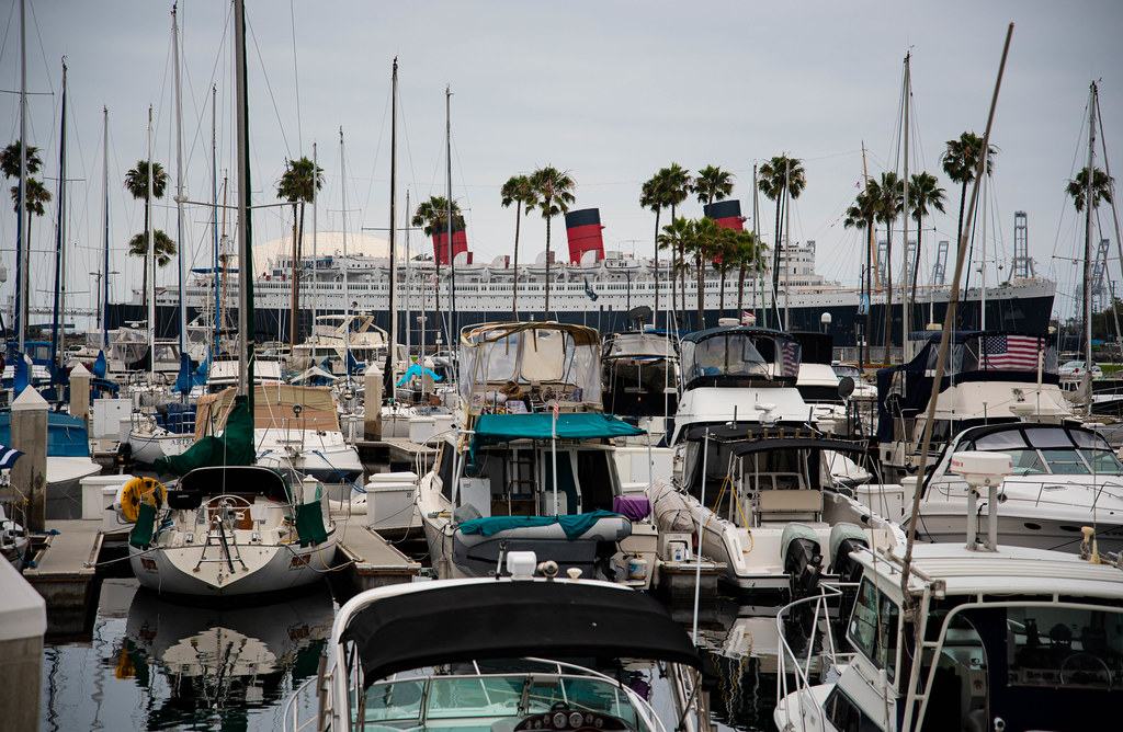The Queen Mary and the Long Beach Shoreline Marina
