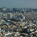 Aerial view of cityscape in sunny day