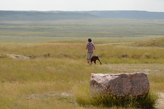 Grasslands National Park West Block - Linda and Hector in the grass by the bison  rub rock | by Pierre Yeremian