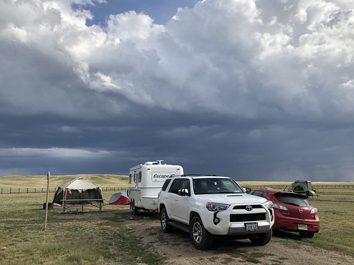 Grasslands National Park West Block - campsite with dramatic sky