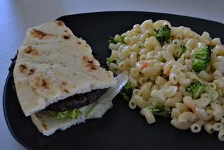 Macaroni Salad and Veggie Burger (Vegan)