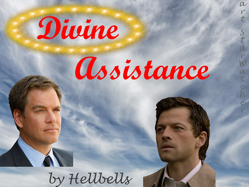 Tony and Castiel face each other on cloudy sky background.  Test reads 'Divine Assistance' with 'divine'  surrounded by golden halo floating above the men.
