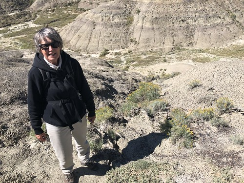 Grasslands East Block - Linda near the top of a butte