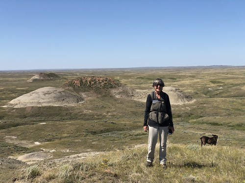 Grasslands East Block - Linda at the red buttes with Hector