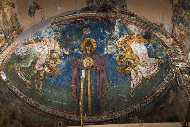 Holy Mother of God with Jesus Christ and two Angels. Fresco of the altar apse.
