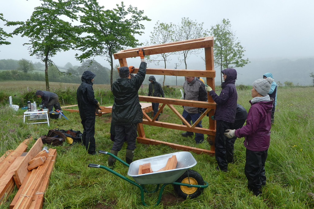 building compost toilet in the rain