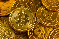 crypto currency concept.Bitcoins ,Gold Coins ,Cryptocurrency with space for your Concept .