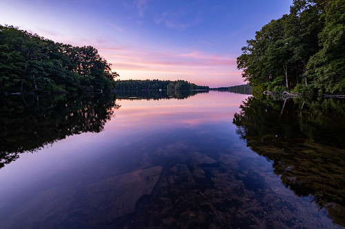 clouds handheld lake landscape reflection rocks sky statepark summer sunset trees ashland ma unitedstates