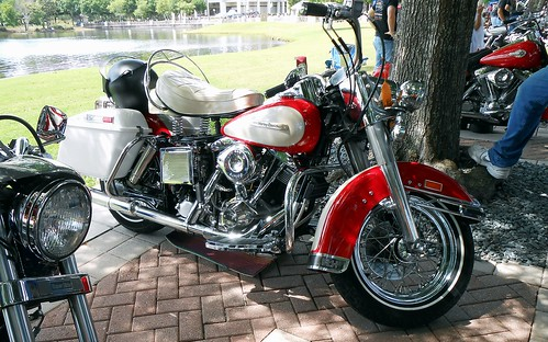Red and White Harley -- Riding Into History -- May, 2019