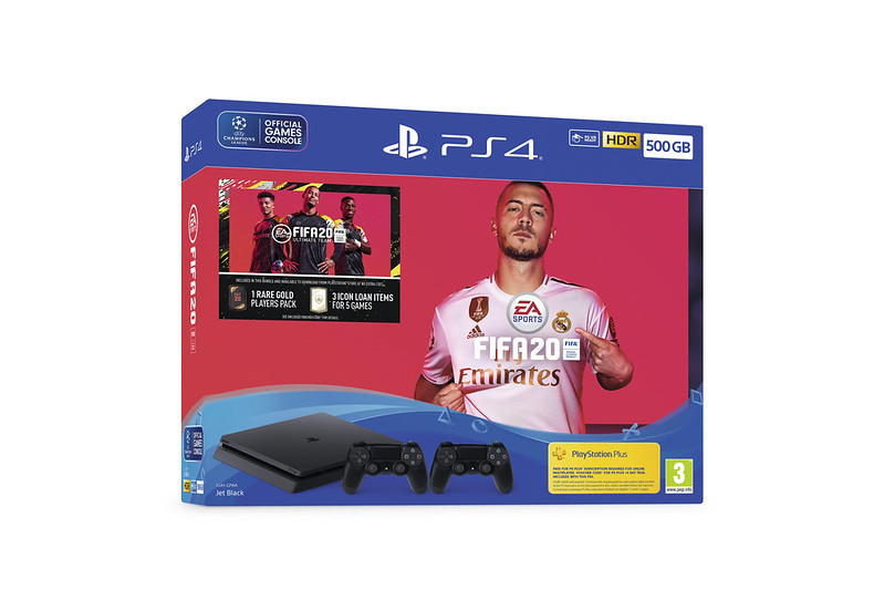 500GB PS4 with Two DualShock 4 Wireless Controllers + FIFA 20