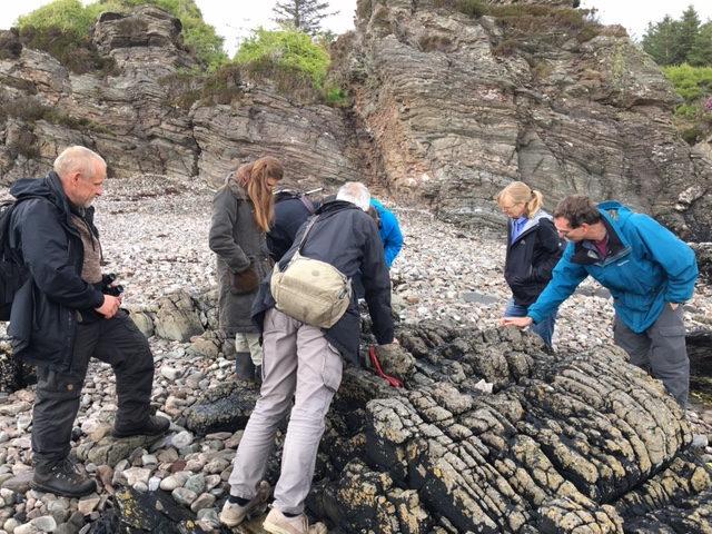 Group looking at lichen on beach