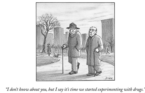 "New Yorker Cartoon about my parents: ""I don't know about you, but I say it's time we started experimenting with drugs."""
