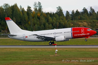 Norwegian B737-33V LN-KKD at ENGM/OSL 09-09-2007