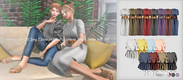 {amiable}Side Slit Long T Dress and Volume Sleeve Blouse@N°21(50%OFF SALE).