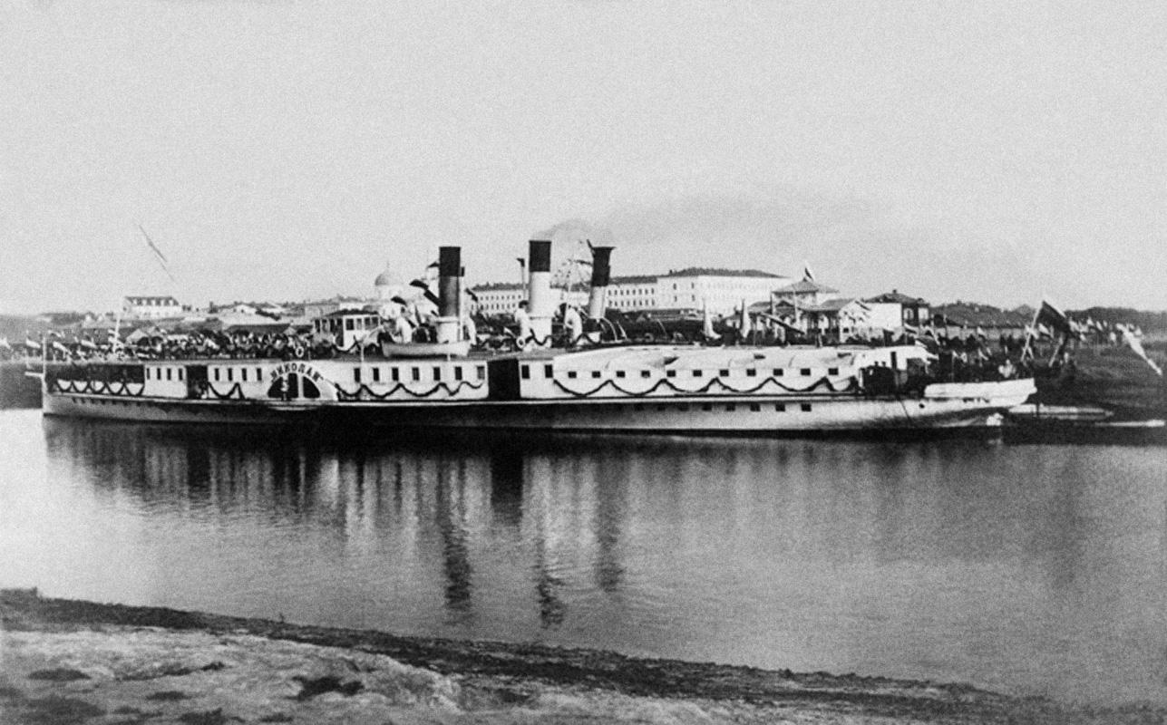 1891. Омск. Пароход «Николай» на Оми. В Омск цесаревич Николай прибыл на пароходе из Томска