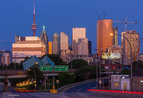 Pre-dawn glow reflects off of glass and steel towers - Toronto | by Phil Marion (184 million views - THANKS)