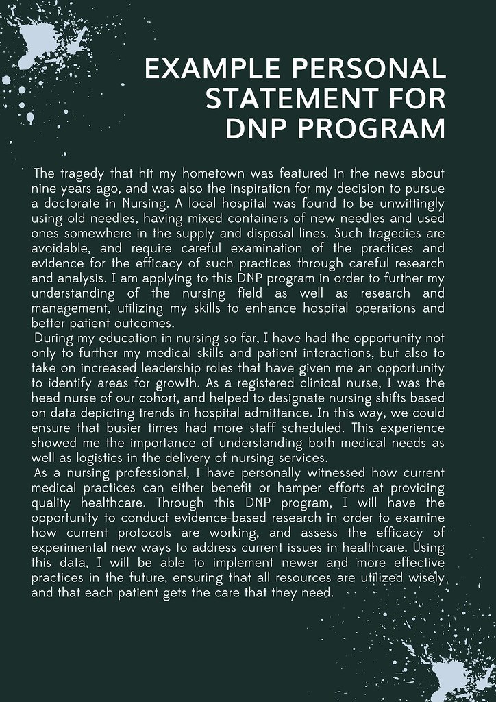 Example Personal Statement For DNP Program