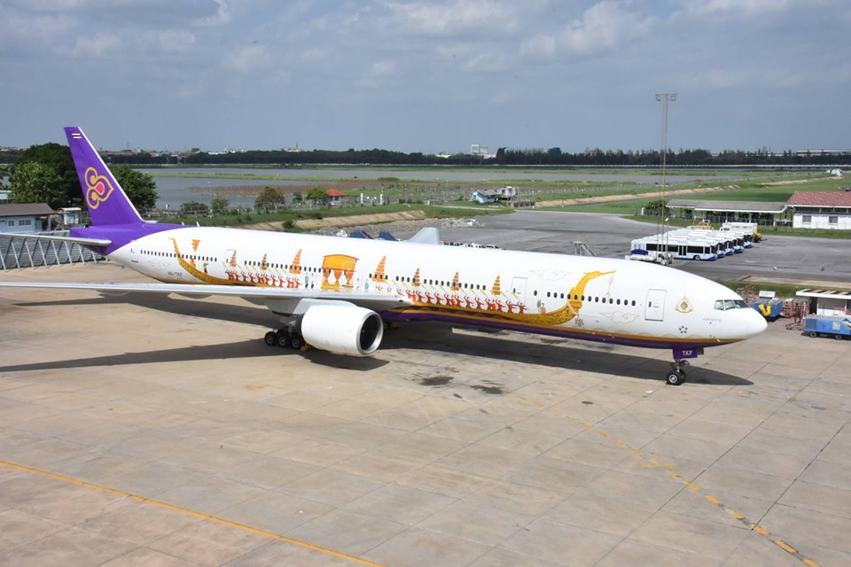 HS-TKF / Thai International / Boeing B777-3D7 / cn 29214 / 'Lahan Sai' / Aug19 / ( photo: FB Thai Airways) /