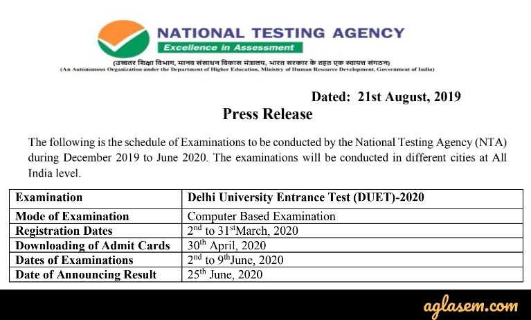 DUET 2020 Exam Notification