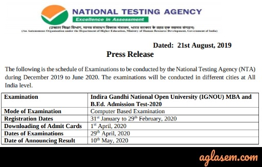 IGNOU MBA Entrance Test 2020 - OPENMAT XLVII Exam Date (out