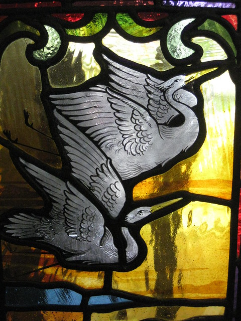 Detail of an Art Nouveau Stained Glass Panel in the Front Door of