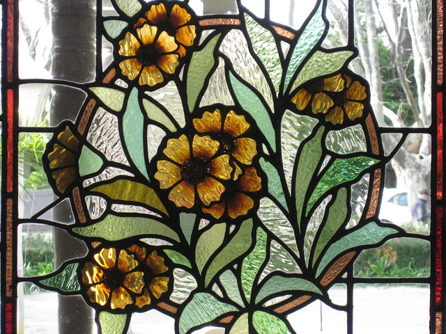 Detail of an Art Nouveau Stained Glass Window in the Entrance Hall of