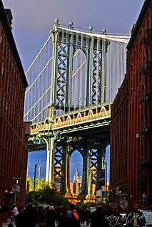 DUMBO Brooklyn Manhattan Bridge & View of Empire State Building New York City NY P00293 DSC_3279