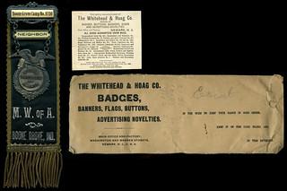 Modern Woodmen of America Pinback and Ribbon, circa 1910 - Boone Grove, Indiana