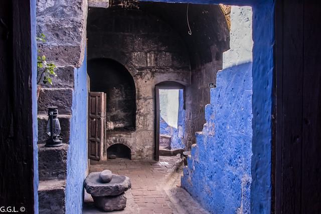 Monasterio de Santa Catalina. Arequipa. Dependencias en azul.