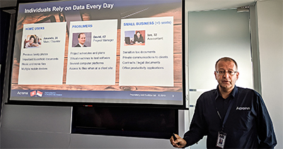 Acronis President, Co-Founder and COO, Stanislav Protassov, launched the new True Image 2020 in the company's Singapore office at Suntec Tower 3.