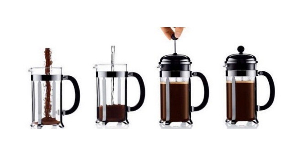 Hacer café en prensa francesa en cuatro pasos