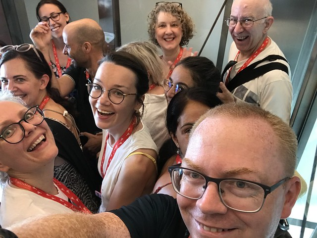 In elevator at Hugo Costa's workshop at USk Amsterdam 2019