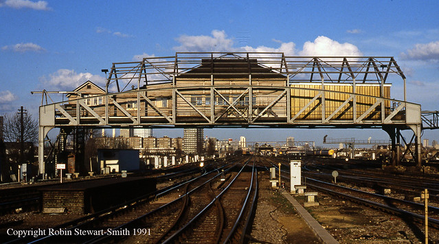 SR Clapham Junction 'A' Overhead Signal Box (LSWR 1905) on 8th March 1991