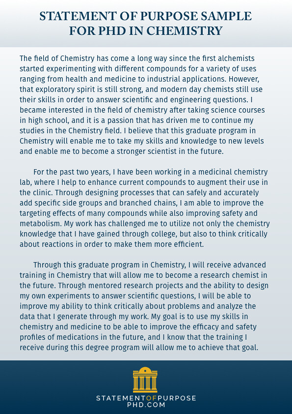 Statement Of Purpose Sample For PHD In Chemistry