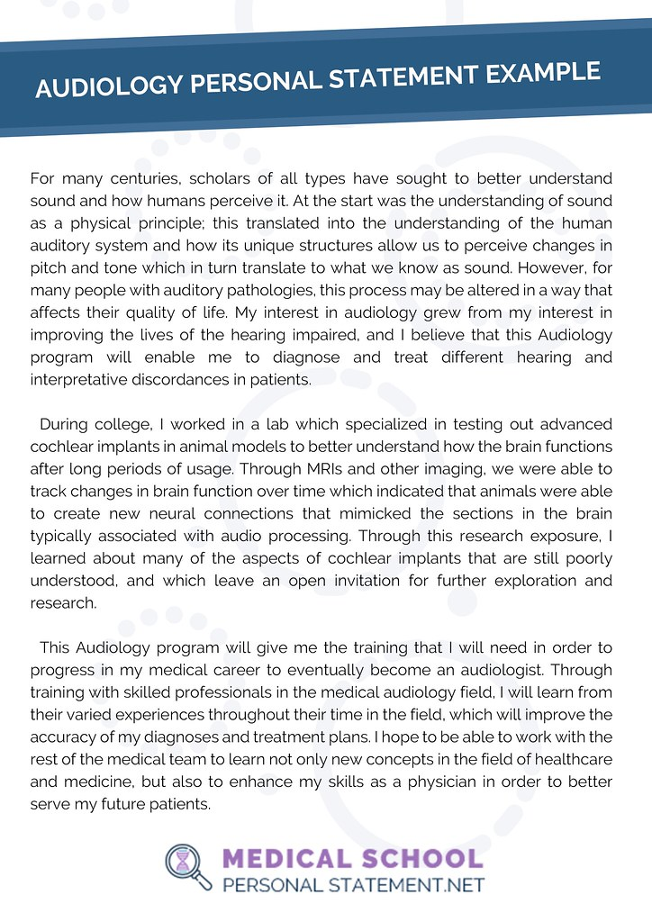 Audiology Personal Statement Example