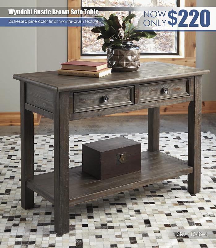 Wyndahl Rustic Brown Sofa Table_T648-4