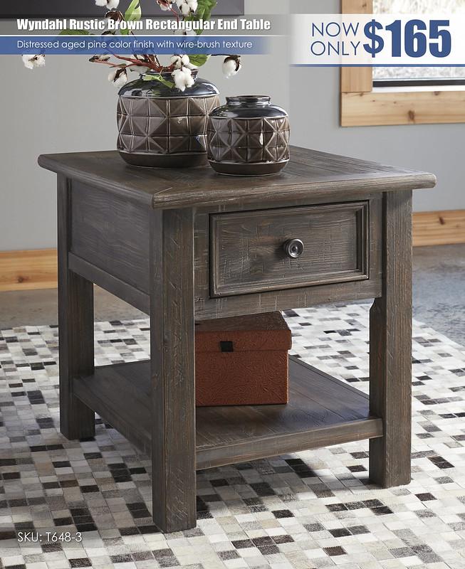 Wyndahl Rustic Brown Rectangular End Table_T648-3