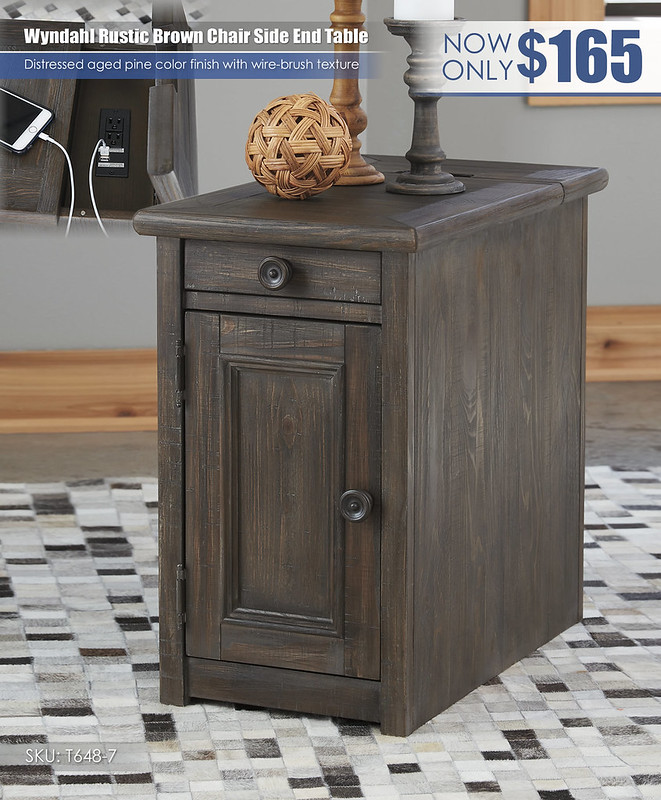 Wyndahl Rustic Brown Chair Side End Table_T648-7