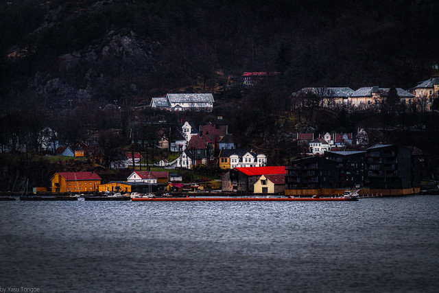 Early morning view of Bergen from docked ship, Bergen, Norway- 2a
