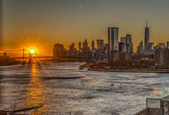 Sun sets on lower Manhattan