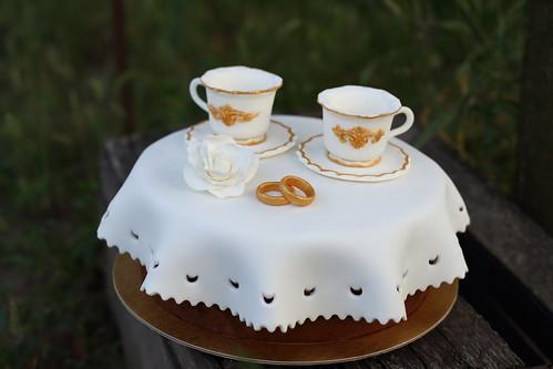 "Торт ""Фарфоровая свадьба"" / Cake for 20th wedding anniversary"