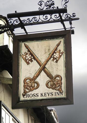 Cross Keys Pub sign in Gloucester, England