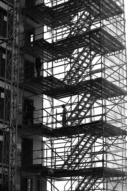 Between the ladders