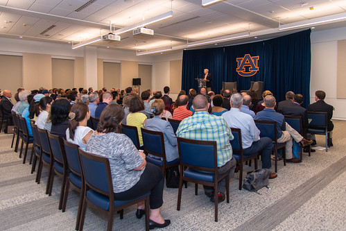 The crowd in the Brown-Kopel Student Achievement Center at Auburn University.