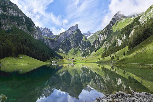 The glorious Seealpsee in the Alpstein