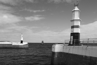 RAMSEY BREAKWATER LIGHTHOUSES (PEPPERPOTS), RAMSEY, ISLES OF MAN, BRITISH ISLES.