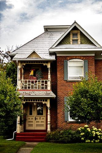 edwardianvictoriancrossover house balcony rooster gables peaks carpontario fujixe1 smalltown porch doorway oldandbeautiful