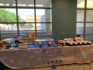 Picture of the entire display table.  French Toast Swirl displayed on left, Corn Bread Bowls in Middle with option of Buffalo Macaroni and Cheese or Chili as a hot item or Strawberries and whipping cream as a sweet option.